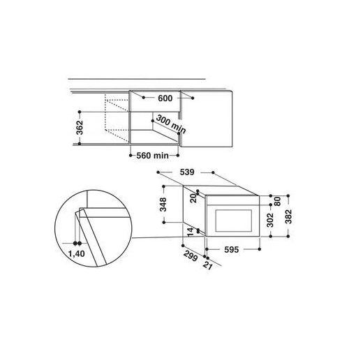 Mikrofalówki do zabudowy, Whirlpool AMW 496