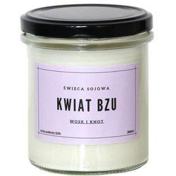 Świeca sojowa KWIAT BZU - aromatyczna ręcznie robiona naturalna świeca zapachowa w słoiczku 300ml
