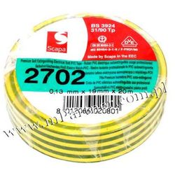 Taśma izolacyjna Scapa PCV 2702 19mm 20m żółto-zielona