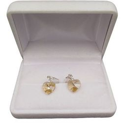 Kolczyki srebrne z żółtym kryształem w kształcie serca o długości 3 cm SKK13