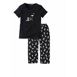 Piżama z krótkim rękawem i spodniami 3/4 bonprix czarno-biały