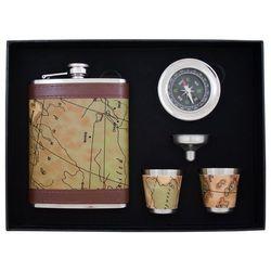 Piersiówka Mapa stylizowana w zestawie z kieliszkami, lejkiem i kompasem