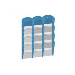 Plastikowy uchwyt ścienny na ulotki - 3x4 A4, niebieski