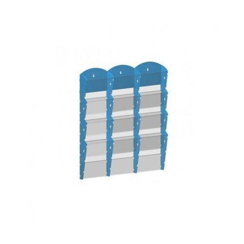 Ramy,stojaki i znaki informacyjne, Plastikowy uchwyt ścienny na ulotki - 3x4 A4, niebieski