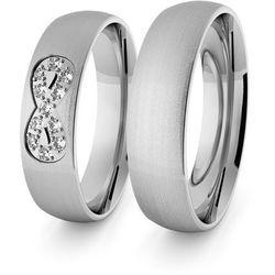 Obrączki ślubne klasyczne z białego złota niklowego 5 mm - nieskończoność - 69