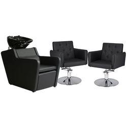 Zestaw Mebli Fryzjerskich - Myjnia Perfect + 2 Fotele Hamburg Dysk