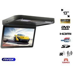"""NVOX VRF1343D BLACK Monitor samochodowy podwieszany podsufitowy LCD 13"""" cali DVD HDMI USB SD GRY"""