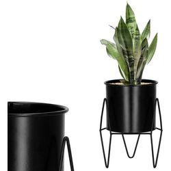 Stojak na kwiaty 19 cm z doniczką nowoczesny kwietnik loft czarny mat