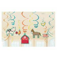 Pozostałe dekoracje, Dekoracja wisząca urodzinowa Zwierzęta hodowlane - Mały Farmer - 12 szt.