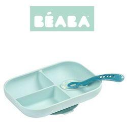 Komplet naczyń z silikonu trójdzielny talerz z przyssawką + łyżeczka Blue Beaba