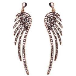 Kolczyki pojedyncze skrzydła złoto antyczne - złoto antyczne