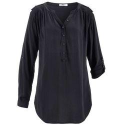 Tunika z wiskozy z dekoltem w serek, długi rękaw bonprix czarny