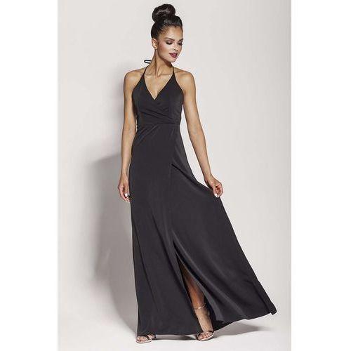 Suknie i sukienki, Czarna Elegancka Długa Sukienka Wiązana na Szyi