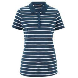 Shirt polo w paski, krótki rękaw bonprix ciemnoniebiesko-biały w paski