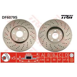 TARCZA HAM TRW DF6079S MERCEDES E280 CDI 4-MATIC 190KM 05-