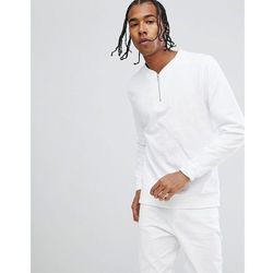 ASOS DESIGN half zip sweatshirt in white - White