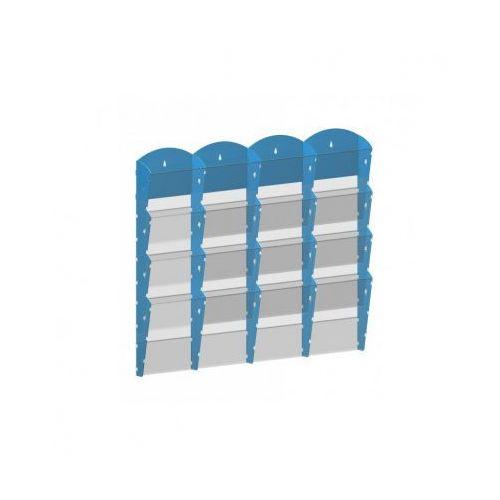 Ramy,stojaki i znaki informacyjne, Plastikowy uchwyt ścienny na ulotki - 4x4 A5, niebieski
