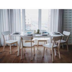 Stół biały - do kuchni - do jadalni - rozkładany - 150/195 cm - SANFORD