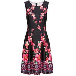 Sukienka letnia bonprix czarny w kwiaty