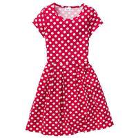 Sukienki dziecięce, Sukienka shirtowa w groszki bonprix czerwono-biały w groszki