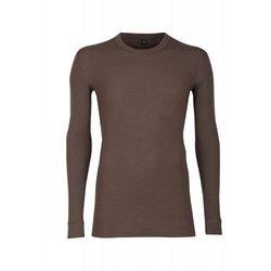 Koszulka męska z wełny merynosów (100%) - długie rękawy; dopasowana, delikatny prążkowany splot - karmelowy brąz - DILLING