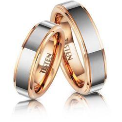 Obrączki Ślubne z Tistenu - komplet. Brzegi i wnętrze pokryte czerwonym złotem.