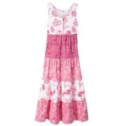 Letnia sukienka dziewczęca bonprix biel wełny - jeżynowo-czerwony