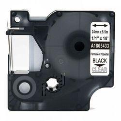 Taśma DYMO Rhino 1805433 poliestrowa 24mm x 5.5m przeźroczysta czarny nadruk - zamiennik