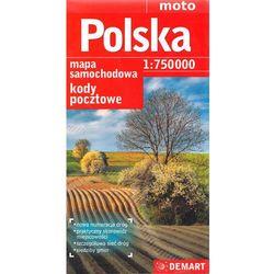 Polska 1:750 000 kody pocztowe mapa drogowa (opr. miękka)