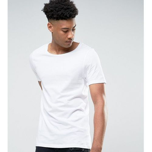 T-shirty męskie, ASOS DESIGN Tall longline t-shirt with scoop neck in white - White