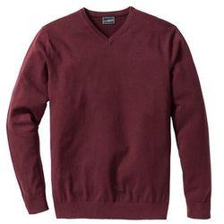 Sweter z dekoltem w serek bonprix czerwony klonowy