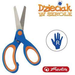 Nożyczki Soft Touch niebiesko-pomar 13,5cm Herlitz - niebiesko-pomarańczowe