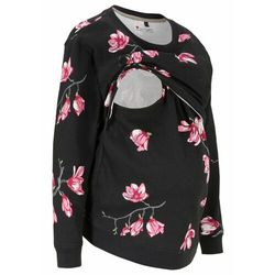 Bluza ciążowa i do karmienia piersią bonprix czarny w kwiaty