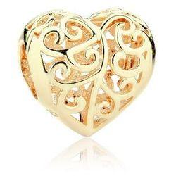Pozłacany srebrny charms pandora ażurowe serce serduszko heart srebro 925 SY016Y