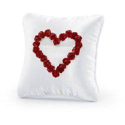 Poduszka pod obrączki biała z bordowymi różyczkami w kształcie serca - 1 szt.