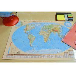 Świat mapa dwustonna fizyczno-polityczna - podkładka na biurko