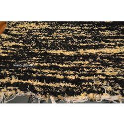 Chodnik bawełniany\pled ręcznie tkany czarno-złocisty zółty 65x150
