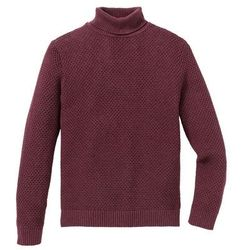 Sweter z golfem Regular Fit bonprix bordowy melanż