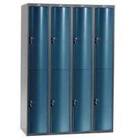 Pozostała odzież robocza i BHP, Metalowa szafa ubraniowa CURVE, 4x2 drzwi, 1740x1200x550 mm, niebieski