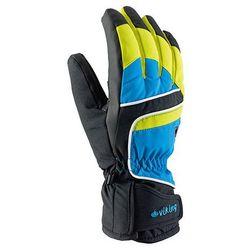 Rękawice narciarskie Viking Biset - czarno-niebiesko-limonkowy viking (-28%)
