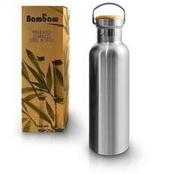 BAMBAW Butelka metalowa ze stali nierdzewnej podwójnie izolowana z bambusową nakrętką TERMOS 750ml