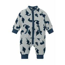 Kombinezon niemowlęcy z polaru bonprix szaro-ciemnoniebieski wzorzysty