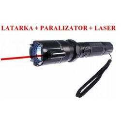 Metalowa Latarka z Paralizatorem Obronnym (500 tyś. VOLT!) + Czerwony Laser + Smycz na Rękę.