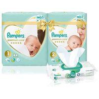 Pieluchy jednorazowe, Pampers zestaw pieluchy Premium Care Starter Pack S1 + S2 + Aqua Pure chusteczki nawilżane 48 szt.
