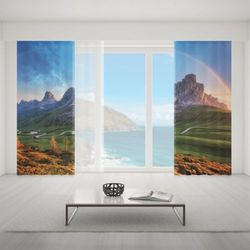 Zasłona okienna na wymiar komplet - RAINBOW OVER MOUNTAINS