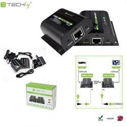 Techly Extender HDMI po skrętce Cat.5e/6/6a/7 do 60m, z odbiornikiem IR, czarny
