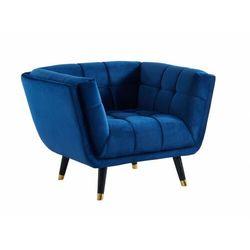 Fotel z weluru SAMANTHA – kolor granatowy