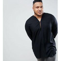 ASOS DESIGN Plus regular fit longline viscose shirt in black with v neck - Black