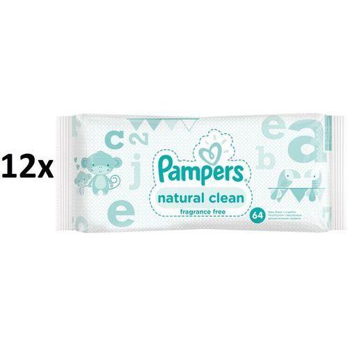 Pieluchy jednorazowe, Pampers chusteczki Natural Clean 12x64 szt