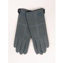Rękawiczki kobiece szare z przeszyciem i naszywką 23